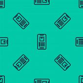 Blue Line Mobile Smart Phone With App Delivery Tracking Icon Isolated Seamless Pattern On Green Back poster