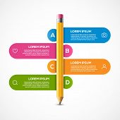 Pencil Info Graphic Design Template. Pencil Infographic Concept School Brochure Banner Step poster