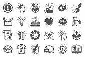 Creativity Brush Icons. Set Of Design, Idea And Inspiration Linear Icons. Imagination, Idea Box And  poster