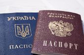 Change Of Ukrainian Citizenship To Russian. Translation Text: passport; Russian Federation; Ukraine poster
