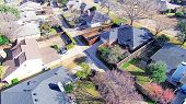 Aerial View Residential Neighborhood Near Dallas, Texas In Winter Time poster