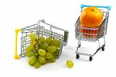 A Grape In Shopping Cart Isolated On White Background. Ripe Tasty Green Grapes In Shopping Cart. Gra poster