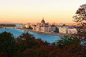 Aerial Landscape View Of Budapest. Picturesque Danube River And The Hungarian Parliament Building Du poster