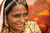 picture of rajasthani  - Portrait of a smiling India Rajasthani woman - JPG