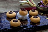 Traditional Thai Dessert (kanom Thai) : Sanay Chan Made From Minced Coconut Mixed With Flour, Sugar, poster