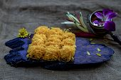 Traditional Thai Desserts Sweet And Delicious : Golden Egg Strip Is Thai Desserts Made From Eggs On  poster