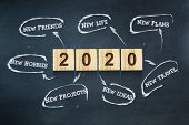Goals 2020. The Concept Of Goals For 2020. The Inscriptions On Wooden Blocks On A Dark Background. C poster