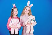 Hope Love And Joyful Living. Friends Little Girls With Bunny Ears Celebrate Easter. Children With Bu poster