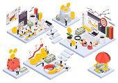 Isometric Wealth Management Concept With Abstract Room Or Square Islands And Stairs About Wealth Man poster
