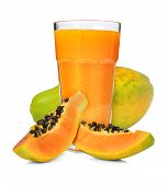 pic of pawpaw  - Glass of papaya smoothie isolated on white - JPG