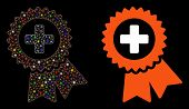 Glossy Mesh Medical Quality Seal Icon With Glitter Effect. Abstract Illuminated Model Of Medical Qua poster
