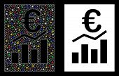 Glowing Mesh Euro Sale Report Icon With Glitter Effect. Abstract Illuminated Model Of Euro Sale Repo poster