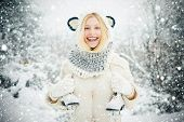 Funny Winter Girl Is Going Skate Outdoors. Beautiful Young Woman Laughing Outdoors. Beautiful Winter poster