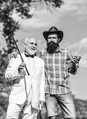 Spending Good Time. Happy Fishermen In Water. Fly Fishing Adventures. Friends Men With Fishing Rod A poster