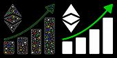Flare Mesh Classic Ethereum Growth Trend Icon With Glare Effect. Abstract Illuminated Model Of Class poster