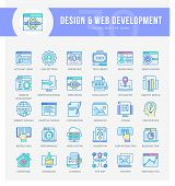 Set Of Filled Outline Multicolor Icons On Following Themes - Seo, Web Development, Web Optimization, poster