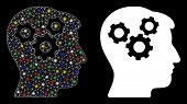 Glowing Mesh Mind Gears Icon With Lightspot Effect. Abstract Illuminated Model Of Mind Gears. Shiny  poster