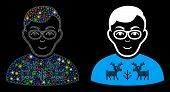 Glowing Mesh Nerd Boy Icon With Sparkle Effect. Abstract Illuminated Model Of Nerd Boy. Shiny Wire C poster