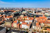 stock photo of copenhagen  - Aerial View on Roofs and Canals of Copenhagen Denmark - JPG
