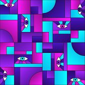 Purple Blue Pattern With Eyes In Geometric Shapes Grid 80s And 90s Vintage Fashion Fabric Print. Dec poster