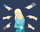 Depressed Woman Being Bullied Surrounded By Hands. Sad Or Depressed Young Woman Surrounded By Hands  poster