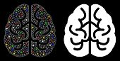 Glowing Mesh Brain Icon With Glitter Effect. Abstract Illuminated Model Of Brain. Shiny Wire Frame P poster