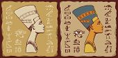 Set Of Vector Banners In The Form Of Ceramic Tiles With Profile Of Nefertiti And Egyptian Hieroglyph poster