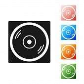 Black Vinyl Player With A Vinyl Disk Icon Isolated On White Background. Set Icons Colorful. Vector I poster