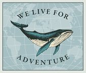 Vector Illustration With A Hand-drawn Whale On The Background Of The World Map In Retro Style. Trave poster