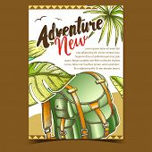 Adventure Tourist Travel Backpack Poster Vector. Touristic Suitcase Backpack Bag Accessory For Trip, poster