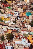 Guanajuato vibrant aerial view cityscape of mexican city of Guanajuato in Mexico.personal vintage ed poster