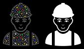 Glossy Mesh Worker Icon With Glare Effect. Abstract Illuminated Model Of Worker. Shiny Wire Frame Tr poster