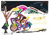 Abstract Illustration Of Man Riding Bicycle At Midnight. Colorful Illustration Of Man Riding Bicycle poster
