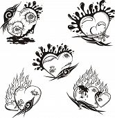 picture of broken heart flower  - Stylized Tattoos with Hearts - JPG