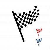 Finish Flag Icon Logo Sign Racing Competition Vector Illustration poster