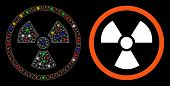 Bright Mesh Radiation Danger Icon With Glare Effect. Abstract Illuminated Model Of Radiation Danger. poster