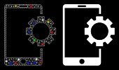 Flare Mesh Phone Setup Gear Icon With Glare Effect. Abstract Illuminated Model Of Phone Setup Gear.  poster