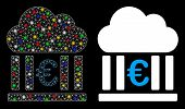 Flare Mesh Euro Cloud Banking Icon With Glow Effect. Abstract Illuminated Model Of Euro Cloud Bankin poster