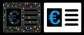 Flare Mesh Euro Bank Account Icon With Glitter Effect. Abstract Illuminated Model Of Euro Bank Accou poster