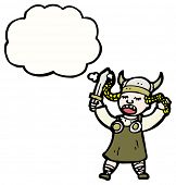 stock photo of valkyrie  - cartoon viking girl - JPG