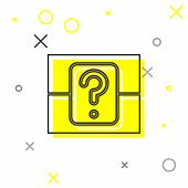 Grey Line Mystery Box Or Random Loot Box For Games Icon Isolated On White Background. Question Box.  poster