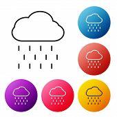 Black Line Cloud With Rain Icon Isolated On White Background. Rain Cloud Precipitation With Rain Dro poster