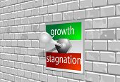 pic of stagnation  - circuit breaker marked growth stagnation on the brick wall - JPG