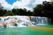 stock photo of waterfalls  - Agua Azul Waterfall in Yucatan peninsula - JPG