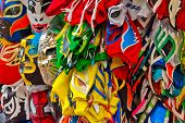 picture of wrestling  - a lot of wrestling masks in a mexican market - JPG