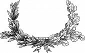picture of semi-circle  - Vector drawing of a wreath from oak and laurel branches - JPG