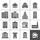 stock photo of chimney  - Building Icons Set - JPG