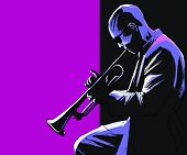 image of trumpet  - Vector illustration of a trumpet player - JPG