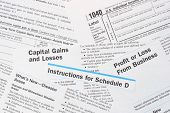 Irs Federal Income Tax Forms 1040 And Schedule D