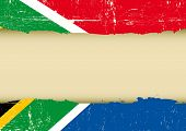 South Africa scratched flag. A south africa flag with a large frame for your message